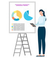 presenter and diagram report business vector image vector image