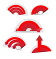 red paper circle with arrows and shadows vector image