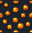 scary pumpkin lantern faces seamless halloween vector image