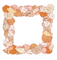 sea shell square frame vector image vector image