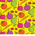 seamless background colorful fruits and vegetables vector image vector image