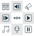 set of 9 multimedia icons includes mike music vector image