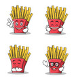 set of french fries cartoon character vector image