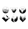 set of monochrome landscapes in geometric shapes vector image vector image