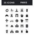 set simple icons paris vector image