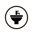 simple toilet sign with black washbasin and water vector image vector image