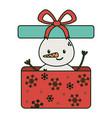 snowman on gift box surprise celebration merry vector image