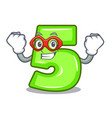 super hero cartoon house number five on wall vector image vector image
