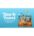 travel to world open suitcase with landmarks vector image vector image