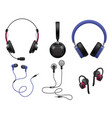 various music earphones types realistic stereo vector image