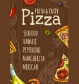vertical poster slice pizza and ingredients vector image
