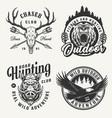 vintage hunting emblems set vector image vector image