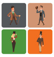 vintage victorian cartoon gents retro people vector image vector image