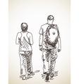 Walking couple back view vector image