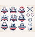 white red and blue baseball logos vector image