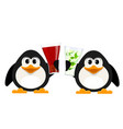 two small penguins with cola glasses and vector image