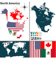 North America map with regions and flags vector image