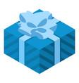 blue gift box icon isometric style vector image