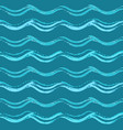 blue seamless pattern with hand drawn waves vector image