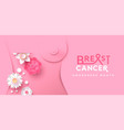 breast cancer month floral mastectomy woman banner vector image vector image