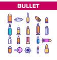bullet ammunition color icons set