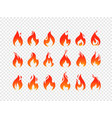 burning flames set isolated on transparent vector image