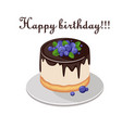 cake with fresh berries and chocolate isolated on vector image vector image