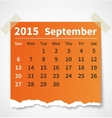 Calendar september 2015 colorful torn paper vector image vector image