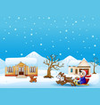 cartoon boy riding sled on the snowing village pul vector image vector image