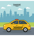 colorful poster of transport with cab on the vector image vector image