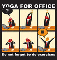 comic with a businessman who does yoga exercises vector image