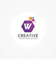 creative hexagonal letter w logo vector image