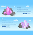 crystals and minerals among grey stones realistic vector image vector image