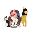 dog owner old couple vector image