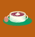 flat shading style icon bread-soup with dried vector image