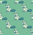 funny beaver seamless pattern vector image vector image