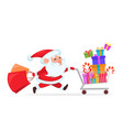 funny santa claus running with shopping cart vector image