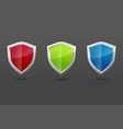 glossy steel shield set protection symbol vector image