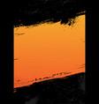 grunge background with orange frame border vector image