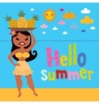 Hello summer pineapple hula girl on the beach vector image