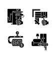 house renovations black glyph icons set on white