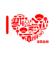 I love BDSM Fetish icon set in heart shape Emblem vector image vector image