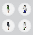 isometric human set of girl pedagogue male and vector image vector image