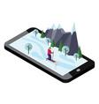 isometric woman skiing cross country skiing vector image vector image