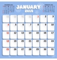 January Month Calendar 2015 vector image vector image