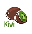 Kiwi fruit with green juicy slice vector image