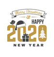 merry christmas and 2020 happy new year sticker vector image