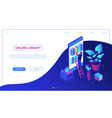 online library - modern colorful isometric vector image vector image