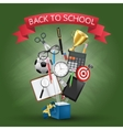open box with school supplies vector image