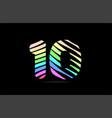 rainbow 10 ten number stripes logo icon design vector image vector image